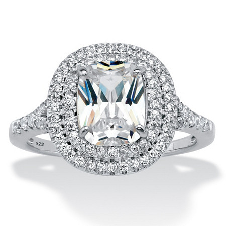 Cushion-Cut Cubic Zirconia Double Halo Engagement Ring 2.87 TCW in Sterling Silver at PalmBeach Jewelry