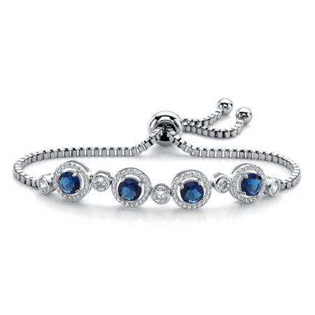 Round Simulated Sapphire and Cubic Zirconia 3.52 TCW Adjustable Halo Slider Bracelet in Silvertone 9