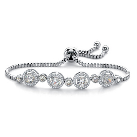 "Round Cubic Zirconia Adjustable Halo Slider Bracelet 2.92 TCW in Silvertone 9"" at PalmBeach Jewelry"