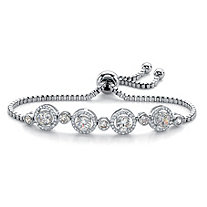 Round Cubic Zirconia Adjustable Halo Slider Bracelet 2.92 TCW in Silvertone 9""
