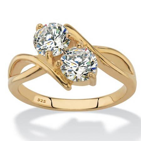 Round Cubic Zirconia 2-Stone Bypass Ring 1.96 TCW in 14k Gold over Sterling Silver at PalmBeach Jewelry