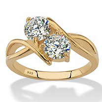 Round Cubic Zirconia 2-Stone Bypass Ring 1.96 TCW in 14k Gold over Sterling Silver