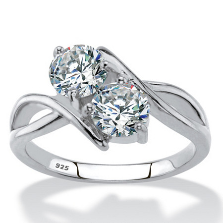 Round Cubic Zirconia 2-Stone Bypass Ring 1.96 TCW in Sterling Silver at PalmBeach Jewelry