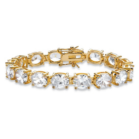 "Oval Cubic Zirconia Tennis Bracelet 40.64 TCW 14k Gold-Plated 7.25"" at PalmBeach Jewelry"