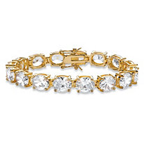 SETA JEWELRY Oval Cubic Zirconia Tennis Bracelet 40.64 TCW 14k Gold-Plated 7.25