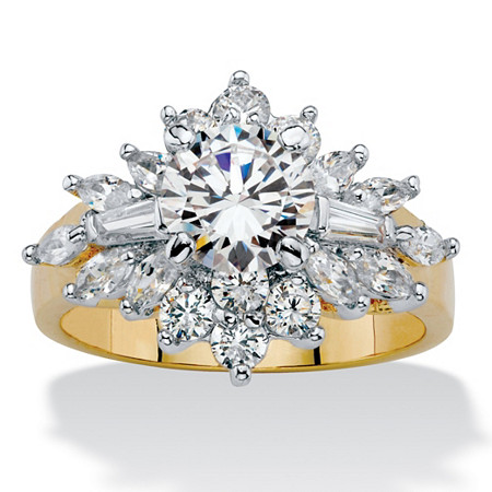 Round and Marquise-Cut Cubic Zirconia Starburst Cocktail Ring 3.61 TCW 14k Gold-Plated at PalmBeach Jewelry