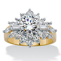 Round and Marquise-Cut Cubic Zirconia Starburst Cocktail Ring 3.61 TCW 14k Gold-Plated