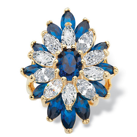 Oval and Marquise-Cut Created Blue Spinel and Cubic Zirconia Floral Ring 3.50 TCW 14k Gold-Plated at PalmBeach Jewelry