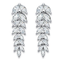 Marquise-Cut Cubic Zirconia Leaf Drop Earrings 4.20 TCW in Silvertone 1 1/8