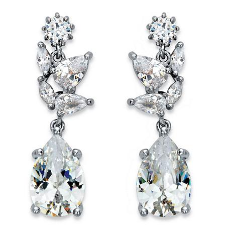 Peardrop Cubic Zirconia Drop Earrings 8.24 TCW in Silvertone at PalmBeach Jewelry