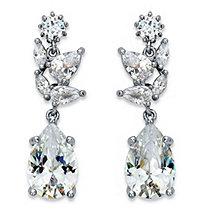 Peardrop Cubic Zirconia Drop Earrings 8.24 TCW in Silvertone