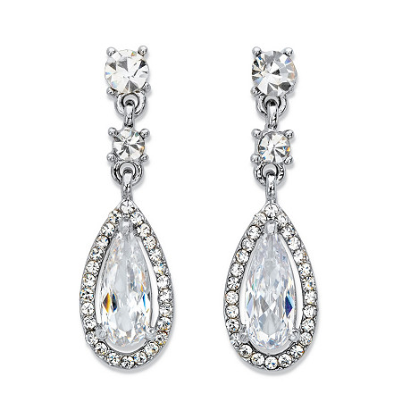 "Peardrop Cubic Zirconia Halo Drop Earrings 12.92 TCW in Silvertone 1.5"" at PalmBeach Jewelry"