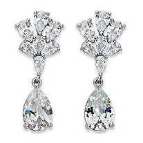 Peardrop Cubic Zirconia Floral Drop Earrings 9.90 TCW in Silvertone 1.25""