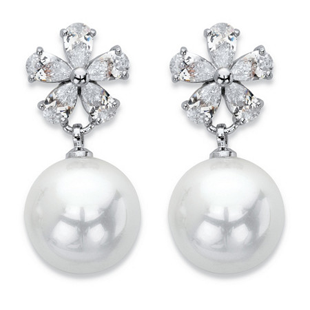 Simulated Pearl and Crystal Floral Drop Earrings in Silvertone 1