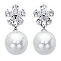 "Simulated Pearl and Crystal Floral Drop Earrings in Silvertone 1"" (12mm)"