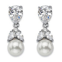 "Teardrop Crystal and Simulated Pearl Drop Earrings in Silvertone 7/8"" (8mm)"