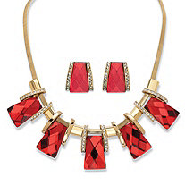 "2-Piece Earrings and Necklace Set Vintage-Inspired Checkerboard-Cut Ruby Red Crystal in Gold Tone 18""-20"""