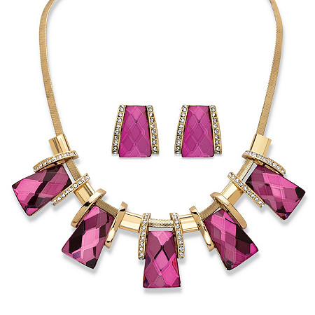 2-Piece Earrings and Necklace Set Vintage-Inspired Checkerboard-Cut Pink Crystal in Gold Tone 18