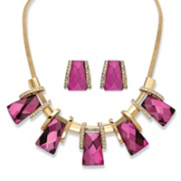 2-Piece Earrings And Necklace Set Vintage-Inspired Checkerboard-Cut Pink Crystal ONLY $27.93