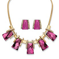 "2-Piece Earrings and Necklace Set Vintage-Inspired Checkerboard-Cut Pink Crystal in Gold Tone 18""-20"""