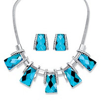 2-Piece Earrings and Necklace Set Vintage-Inspired Checkerboard-Cut Topaz Blue Crystal in Silvertone 18