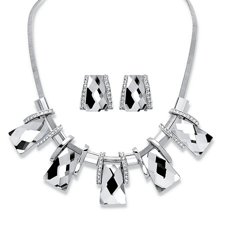 2-Piece Earrings and Necklace Set Vintage-Inspired Checkerboard-Cut Crystal in Silvertone 18