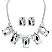 2-Piece Earrings And Necklace Set Vintage-Inspired Checkerboard-Cut Crystal ONLY $8.99