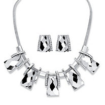 "2-Piece Earrings and Necklace Set Vintage-Inspired Checkerboard-Cut Crystal in Silvertone 18""-20"""