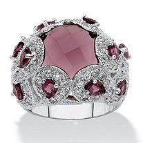 Round Purple Glass Cocktail Floral Scroll Ring 1.28 TCW in Silvertone