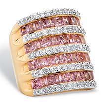 Princess-Cut and Round Pink and White Cubic Zirconia Multi-Row Ring 6.26 TCW 14k Gold-Plated
