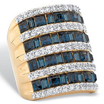 London Blue Simulated Sapphire Crystal and White Cubic Zirconia Multi-Row Ring 1.46 TCW 14k Gold-Plated