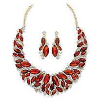 "Marquise-Cut Amber Brown and White Crystal 2-Piece Necklace and Earrings Set in Gold Tone 15""-18"""