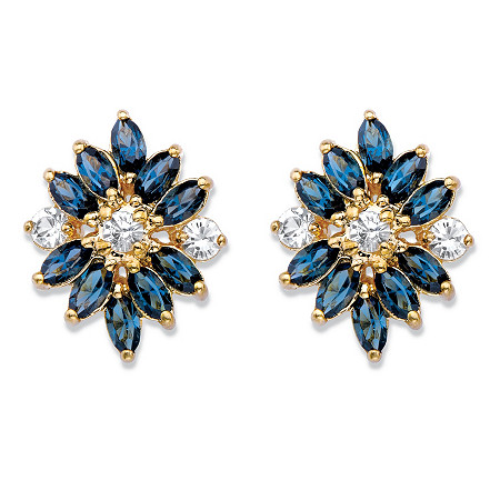 Marquise-Cut Blue Crystal Floral Earrings MADE WITH SWAROVSKI ELEMENTS 18k Gold-Plated at PalmBeach Jewelry