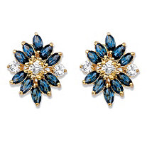 Marquise-Cut Blue Crystal Floral Earrings MADE WITH SWAROVSKI ELEMENTS 18k Gold-Plated