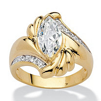 Marquise-Cut Cubic Zirconia Bypass Swirl Ring 2.05 TCW 14k Gold-Plated