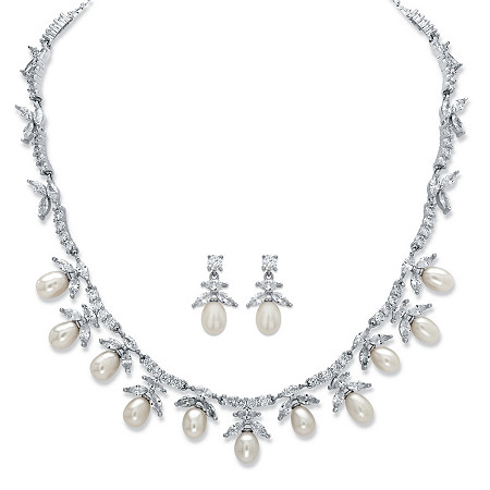 Venetian Pearl and Cubic Zirconia 2-Piece Necklace and Earrings Set 24.25 TCW Platinum-Plated 17