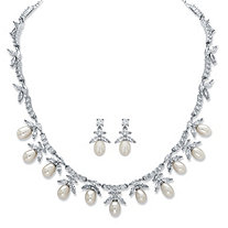 Venetian Pearl and Cubic Zirconia 2-Piece Necklace and Earrings Set 24.25 TCW Platinum-Plated 17""