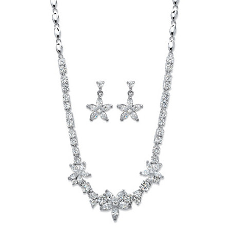 Marquise-Cut Cubic Zirconia 2-Piece Floral Necklace and Earrings Set 17.80 TCW Platinum-Plated 18