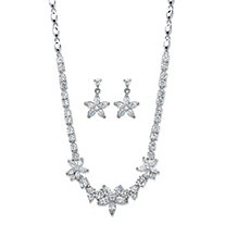 Marquise-Cut Cubic Zirconia 2-Piece Floral Necklace and Earrings Set 17.80 TCW Platinum-Plated 18""