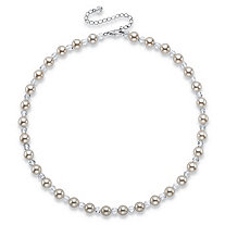 "Round Simulated Ivory Pearl and Crystal Beaded Necklace in Silvertone 16""-19"""