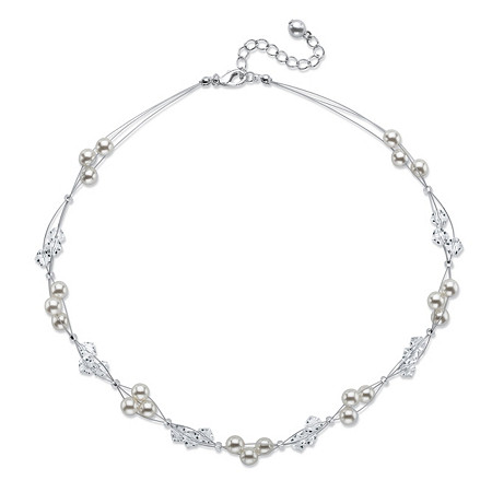 "Simulated Pearl and Beaded Multi-Strand Cluster Necklace in Silvertone 15""-17"" at PalmBeach Jewelry"