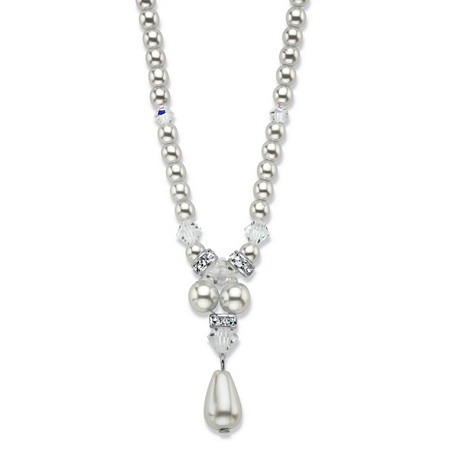 "Peardrop and Round Simulated Pearl and Bead Drop Necklace in Silvertone 16""-18"" at PalmBeach Jewelry"