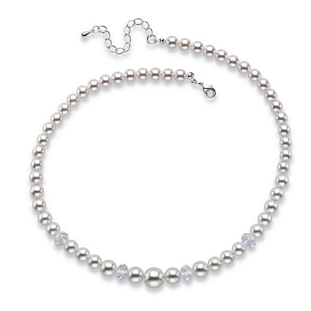 "Round Simulated Pearl and Bead Single Strand Necklace in Silvertone 15""-17"" at PalmBeach Jewelry"
