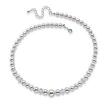 "Round Simulated Pearl and Bead Single Strand Necklace in Silvertone 15""-17"""