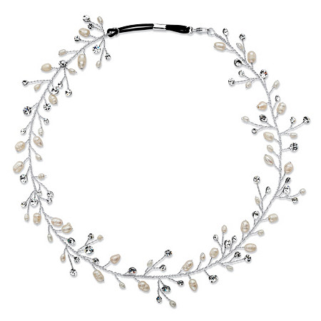 Cultured Freshwater Pearl and Crystal Floral Vine Headband in Silvertone at PalmBeach Jewelry