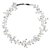 Cultured Freshwater Pearl and Crystal Floral Vine Headband in Silvertone