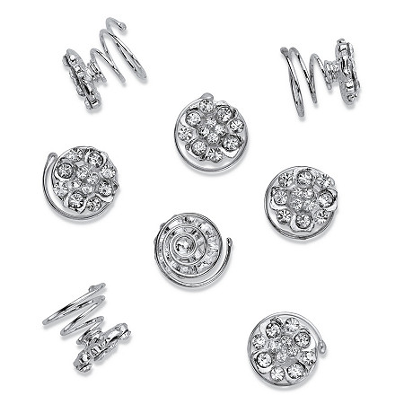 Crystal Cluster 24-Piece Hair Twist Set in Silvertone 14mm at PalmBeach Jewelry