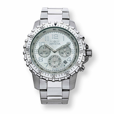 "Men's Invicta Multi-Dial Chronograph Watch with Silver Face in Stainless Steel 9"" at PalmBeach Jewelry"