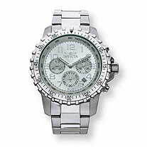 Men's Invicta Multi-Dial Chronograph Watch with Silver Face in Stainless Steel 9""