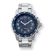 SETA JEWELRY Men's Invicta Multi-Dial Chronograph Watch with Blue Face in Stainless Steel 9